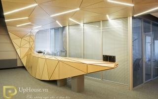 Mẫu bàn quầy lễ tân gỗ đẹp U1